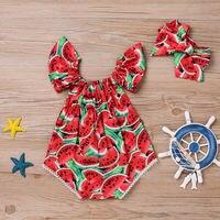 2 pçs bebê recém-nascido menina melancia verão bonito bodysuit macacão outfit