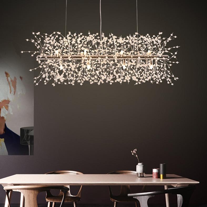 European Modern Pendant Lights Romantic Flower Dandelion Hanging Lamps Shopping Mall Restaurant Dining Room Home Indoor Lighting
