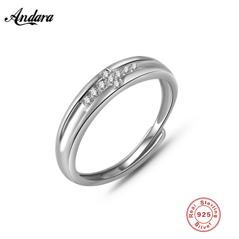 Classic 100% 925 Sterling Silver Cross Symbol, Clear CZ Finger Ring Women Anniversary Jewelry