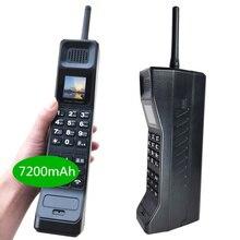 2019 NEW real 7200mAh Powerbank Super Grande Telefono Mobile di Lusso Del Telefono Retrò Telefono Suono Forte giocatore di musica Standby Dual SIM pesante