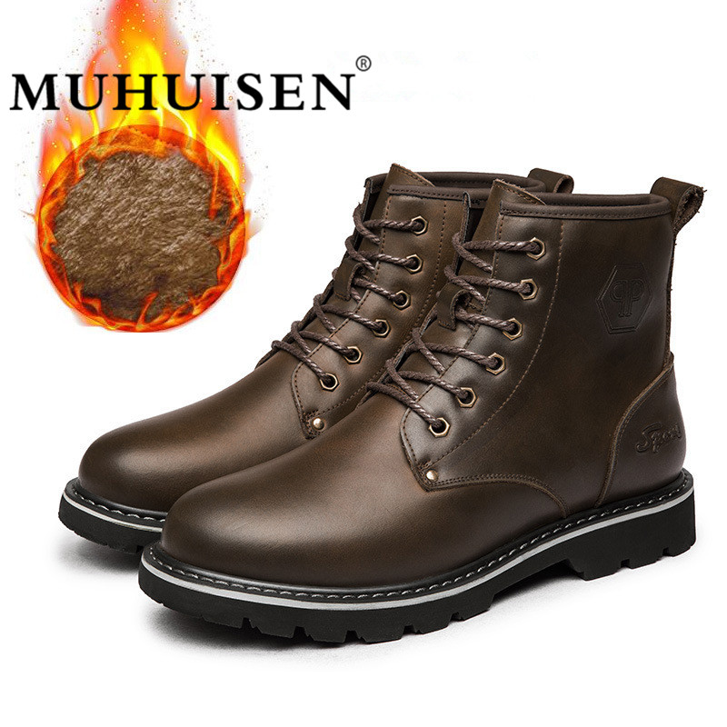 все цены на MUHUISEN Genuine Leather Men Ankle Boots Warm Waterproof Rubber Snow Boots Leisure England Retro Winter Sneakers