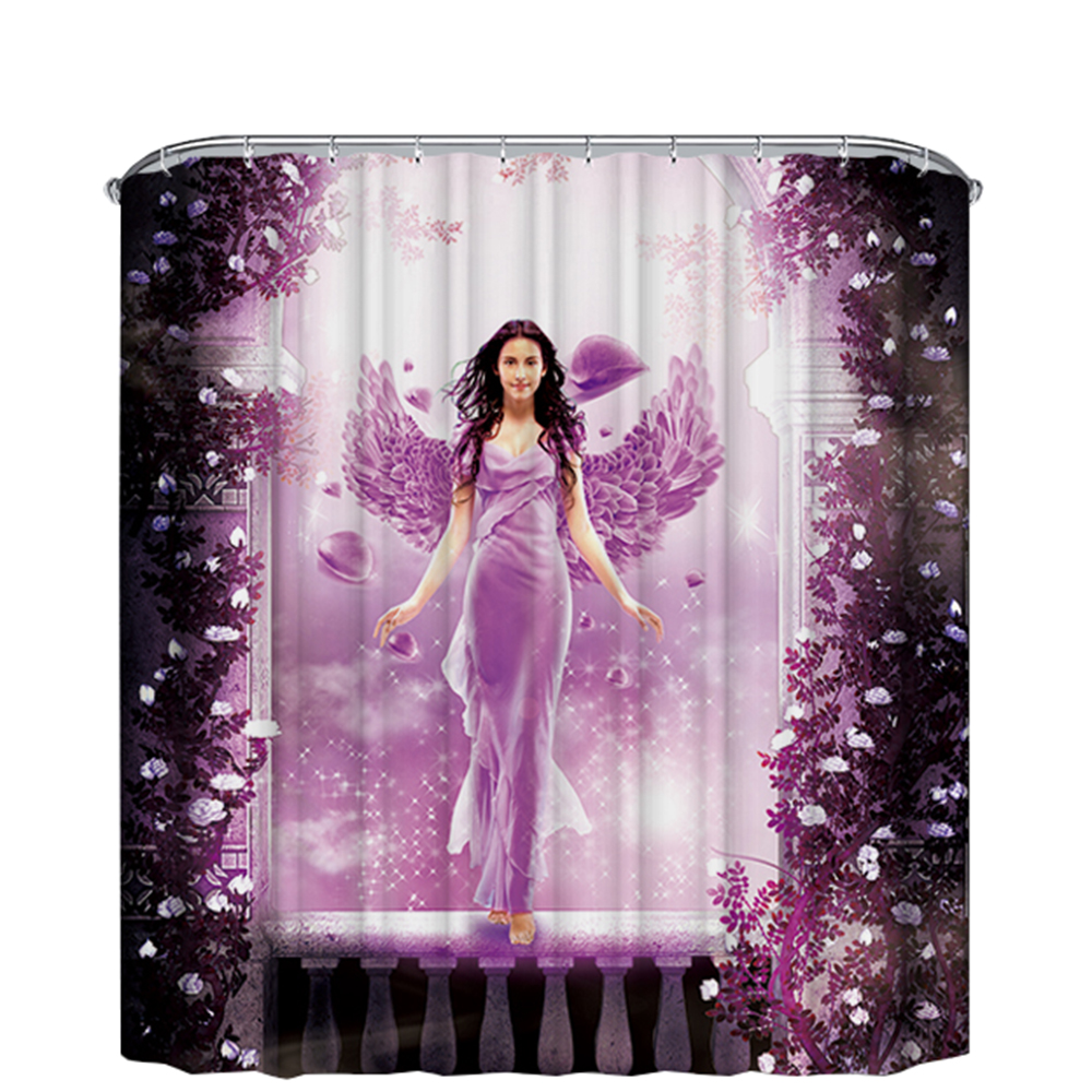 purple angle shower curtain bath curtain fabric polyester 2018 hot sale sales waterproof curtain shower