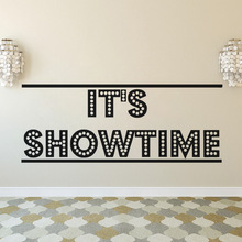 Cinema Design Wall Decal Its Showtime Movie Vinyl Poster Play Game Room Art Mural Home Theater Decoration AY1614