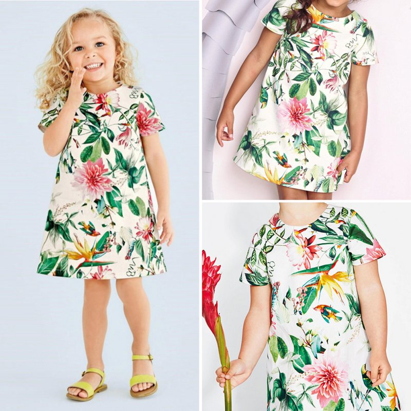 Baby Girl  Kids Floral Print Round Neck Summer Dress Party Dresses 0-5 Years childrendlor baby brocade floral print