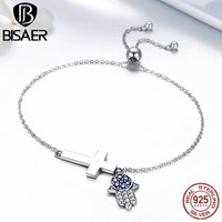 925 Sterling Silver Hamsa Hand Faith Cross Chain Link Strand Bracelets For Women Luxury Authentic Silver