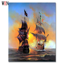 Seascape Sailing Boat Painting By Numbers DIY Coloring On Canvas 40*50cm Pinturas Al Oleo Home Cuadros Decoracion
