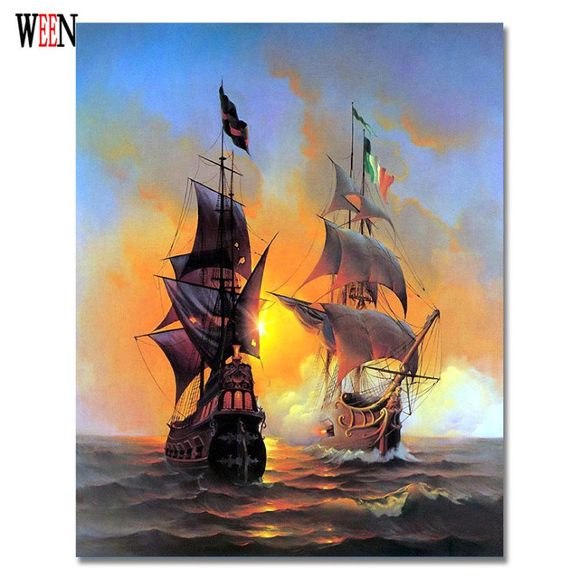 Seascape Sailing Boat Painting By Numbers Coloring On Canvas 4050cm Pinturas Al Oleo Home Cuadros Decoracion
