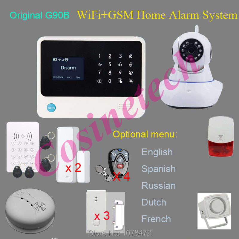 Reliable Original G90B WIFI GSM alarm system,GPRS,surveillance IP camera alarm system,smart Home security alarm+RFID keypad цена и фото