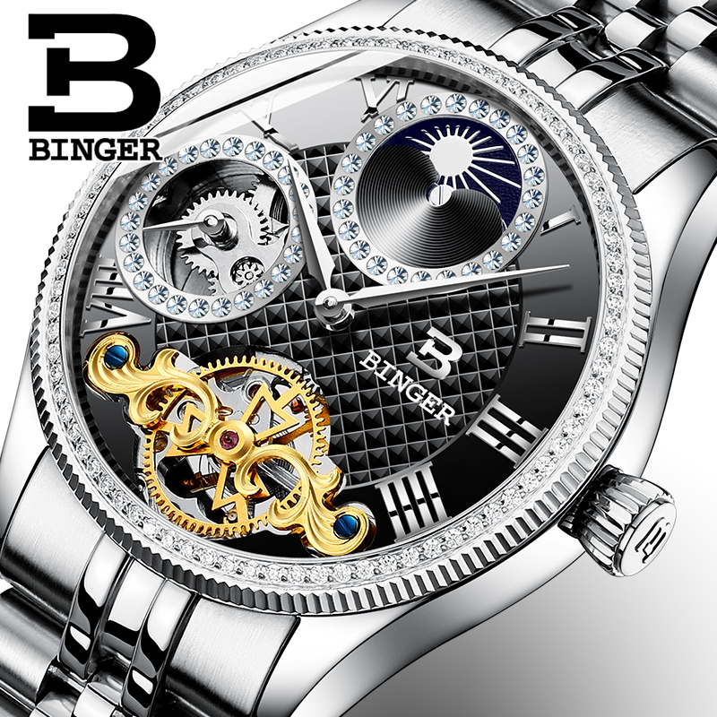 2017 New Mechanical Men Watches Binger Role Luxury Brand Skeleton Wrist Waterproof Watch Men sapphire Male reloj hombre B1175-8 new binger mens watches brand luxury automatic mechanical men watch sapphire wrist watch male sports reloj hombre b 5080m 1