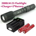 Z6 / Z5 5 Mode 2000 Lumen CREE T6 LED Flashlight Zoomable Adjustable rechargeble +2 *18650 battery+charger