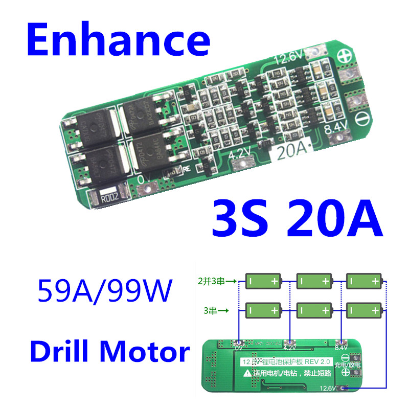 1PC <font><b>3S</b></font> 20A Li-ion Lithium <font><b>Battery</b></font> 18650 Charger PCB BMS Protection Board For Drill Motor 12.6V <font><b>Lipo</b></font> Cell Module 59x20x3.4mm