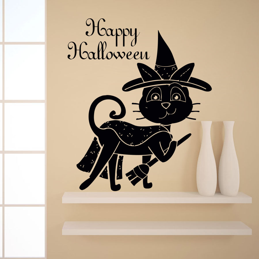 Halloween Vinyl Wall Decal Funny Cat Happy Halloween Quote Art Wall Sticker  Shop Window Glass Bedroom Home Deoration In Wall Stickers From Home U0026  Garden On ...