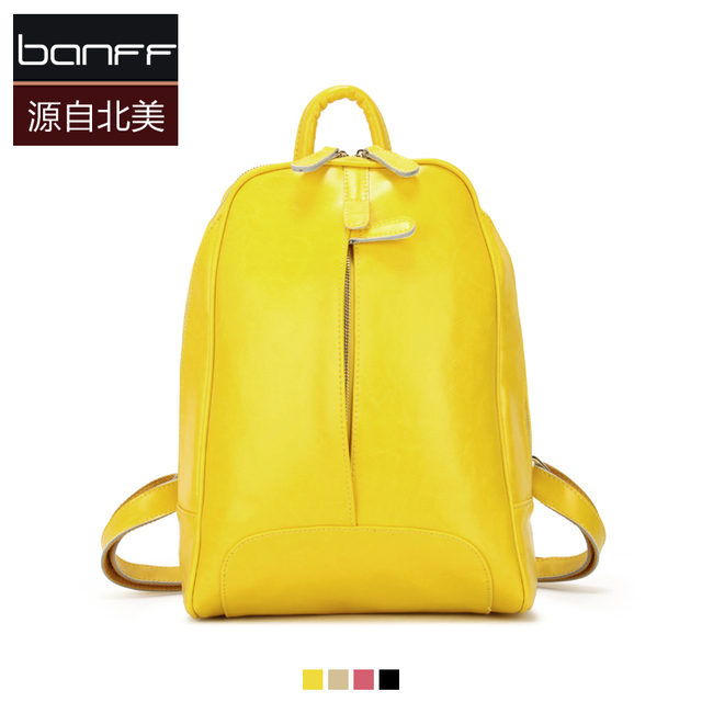 2013 leather bag backpack female candy color bag fresh oil waxing leather bags banff