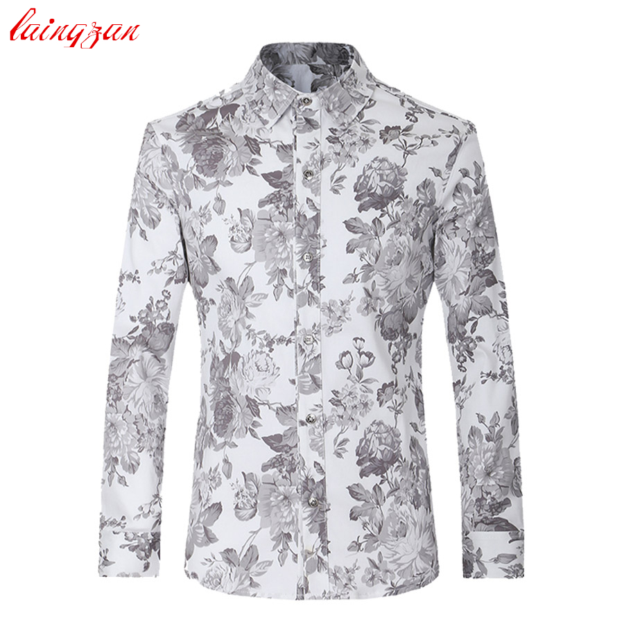 men dress shirts plus size euro size floral long sleeve blouse male slim fit casual flower. Black Bedroom Furniture Sets. Home Design Ideas