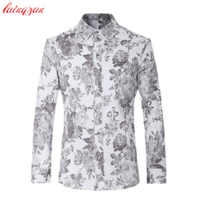 Men Dress Shirts Plus Size Euro Size Floral Long Sleeve Blouse Male Slim Fit Casual Flower Cotton Fashion Social Shirts V008