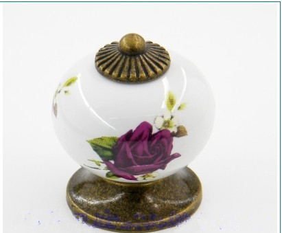 Rustico Vintage Rural ceramic furniture knobs purple rose ceramic drawer cabinet knobs pulls bronze dresser cupboard door handle