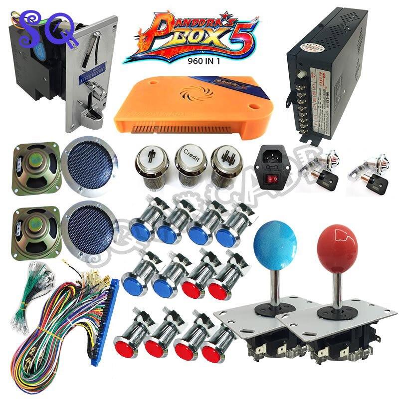 960 in 1 Pandora Box 5 Più Arcade Bundle Kit FAI DA TE Parti Con american Joystick pulsante happ moneta selettore blocco presa IEC