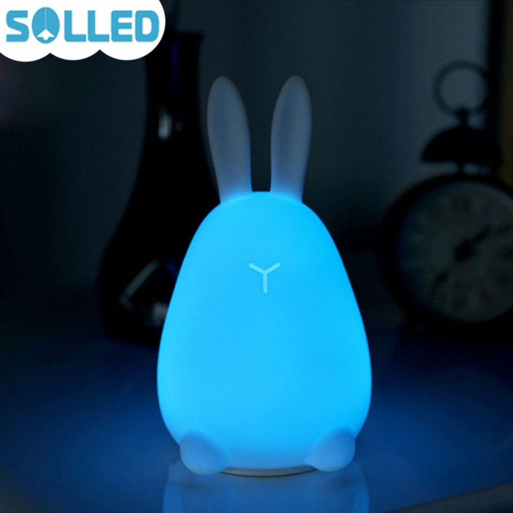 SOLLED LED Silicon Rabbit Patting Lamp with Sound & Touch Sensor Night Light USB Charging Colorful Baby Kids Toys Gift beiaidi 7 color usb rechargeable rabbit led night light dimmable animal cartoon light with remote baby kids christmas gift lamp