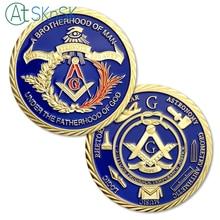 1/3/5/10pcs Masonic Freemason Brotherhood of Man under the Fatherhood God Challenge Coin Gold Plated Commemorative