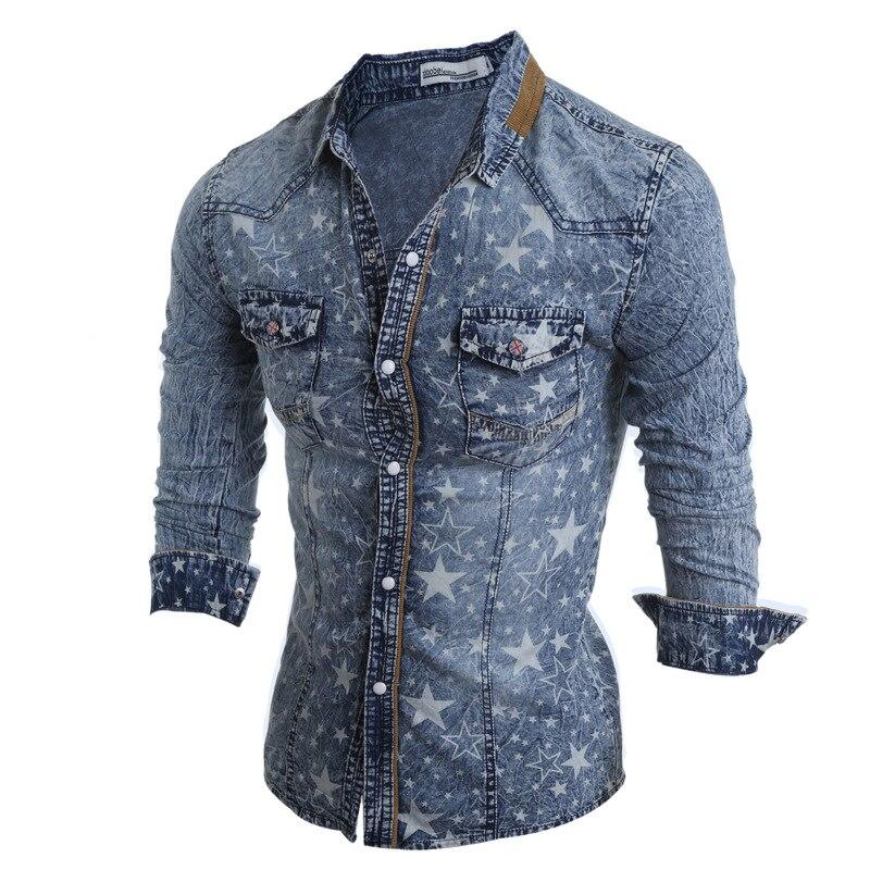 Hommes cinq branches impression étoile à manches longues Slim Denim chemises mode hommes bleu coton automne chemises pour homme belle M-2XL