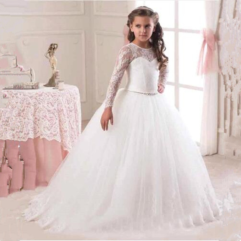 Lace Ball Gowns Long Sleeve   Flower     Girl     Dresses   for Wedding Party Holy Communion Pageant vestidos de primera comunion