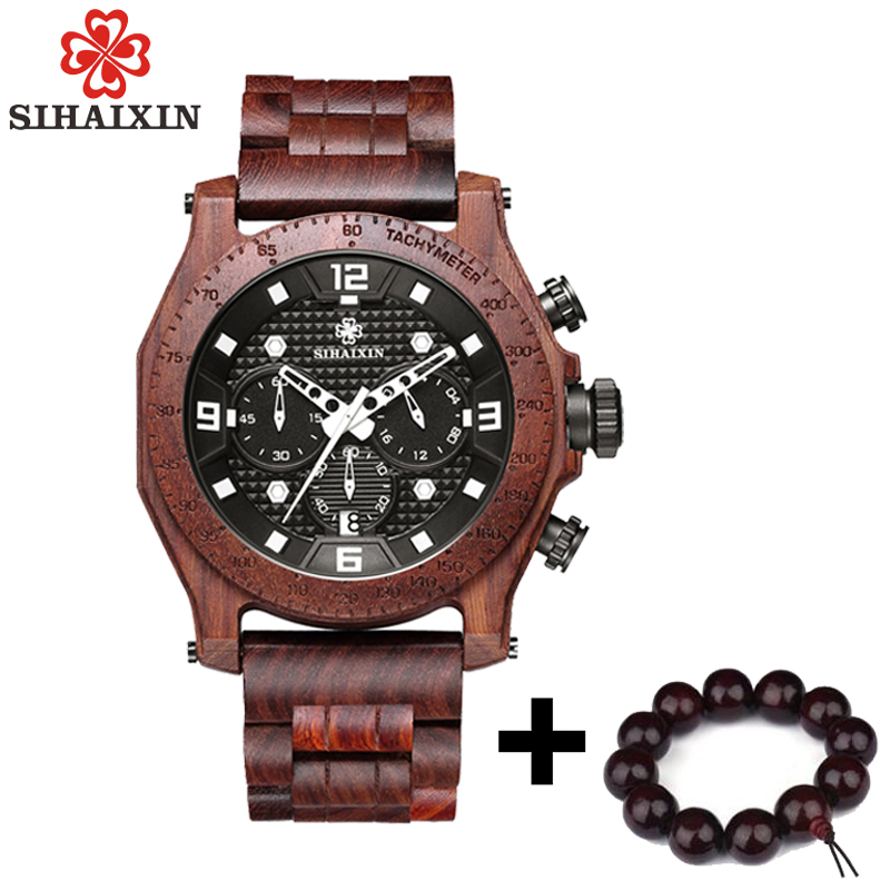SIHAIXIN Wood Watch Waterproof Men Sports Top Luxury Brand Wooden Watch Male Quartz Business Auto Date Man Clock With Bamboo Box sihaixin men watch de wood top brand red calender special watches for male with unique design all wooden clock man relogio