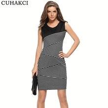 2017 New Women Dress High Quality Summer Style Sleeveless Stripes Casual Midi  Dress Long Dresses V be5a00ae84a6