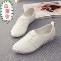 2016 женщин осень обувь квартиры кожаные ботинки Peas 2015 новый Южнокорейский плоские туфли белые кружева обувь женская весна осень