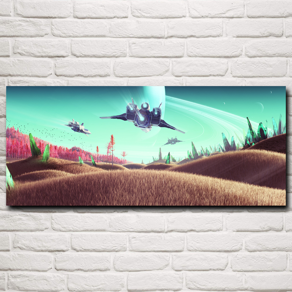 No Man's Sky Fantasy Art Video Games Art Silk Fabric Poster Prints 10x23 12x28 15x35 Inches Home Decor Painting Free Shipping