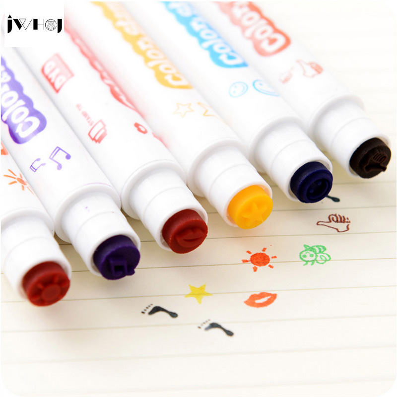 JWHCJ (8 Style) Kids Small pure fresh Stamps DIY Handmade Scrapbook Photo Album, students multifunctional Stamps fluorescent pen jwhcj vintage cat date wood roller stamps for children diy handmade scrapbook photo album diary book decoration students stamps