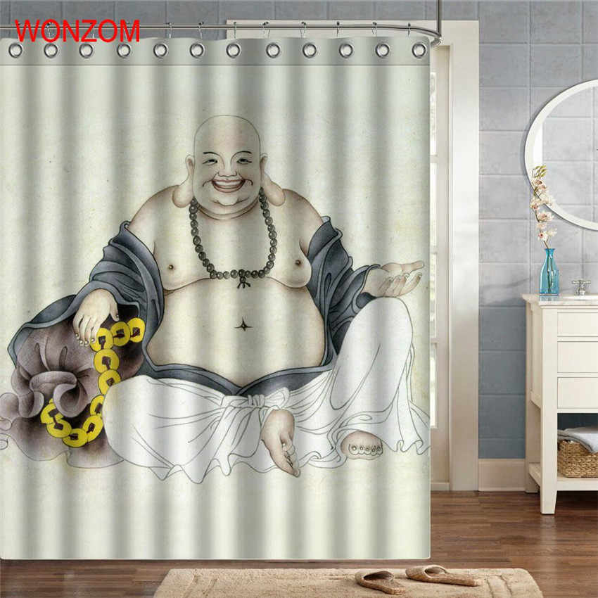 Wonzom مايتريا البوليستر أقمشة الستائر مع 12 خطاطيف للحمام ديكور الحديثة حمام ماء ستارة الحمام