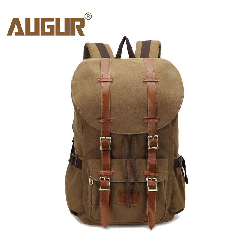 2018 NEW AUGUR Men Backpack Canvas Large Backpack Travel Bags For Men/Women Vintage Military Style Backpacks Casual School Bag 13 laptop backpack bag school travel national style waterproof canvas computer backpacks bags unique 13 15 women retro bags