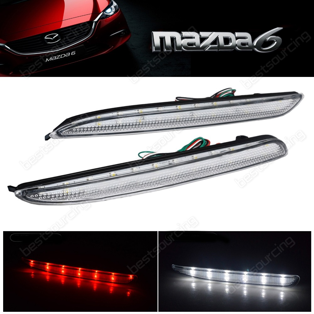 Clear Bumper Reflector LED Reverse Tail Brake Light GG Mazda 6 Mazda6 MPS Atenza/white(CA172)