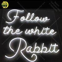 Неоновая вывеска для следуй за Белым Кроликом неоновая лампа стеклянной трубки Декор окна комнаты ручной работы рекламировать anuncio luminoso яс