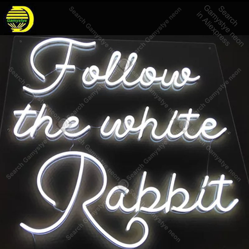 NEON SIGN For Follow the white rabbit NEON Lamp GLASS Tube Decor Room Window Handcraft Advertise anuncio luminoso Clear Board the window office paper sticker pervious to light do not transparent bathroom window shading white frosted glass tint