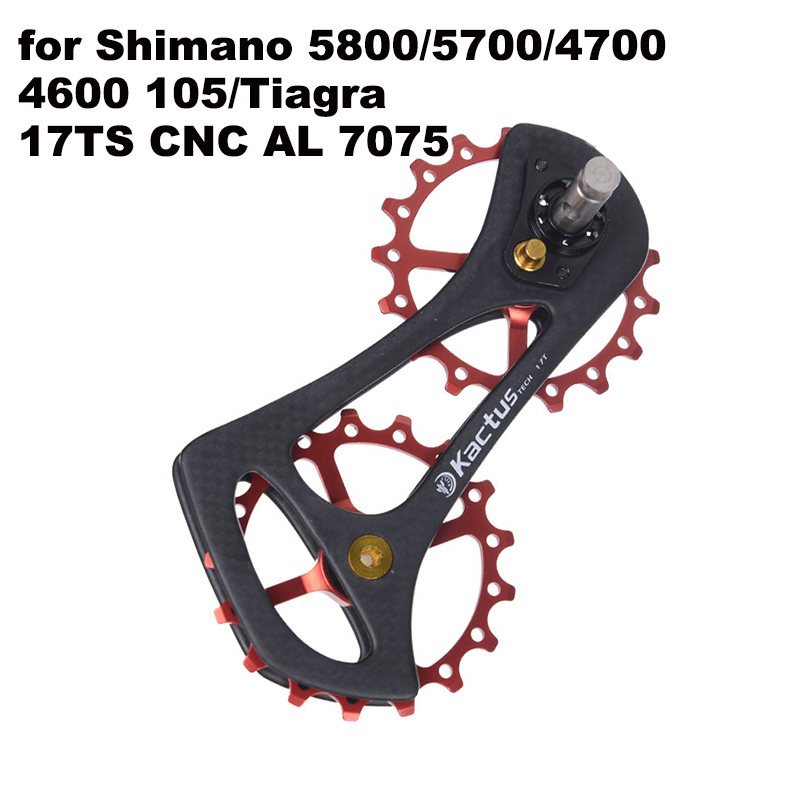 17TS MTB Road Bike Rear Derailleur Pulley ,CNC AL Guide Wheel Set System Ceramic Bearing Jockey for SHIMANO <font><b>Tiagra</b></font> 105 5800 4600 image
