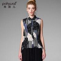 Pokwai Casual Silk Shirts Phụ Nữ Đứng Đầu 2017 Thương Hiệu Chất Lượng Không Tay Áo Đứng Cổ Áo Undies Overshirt In Voan Ladies Top
