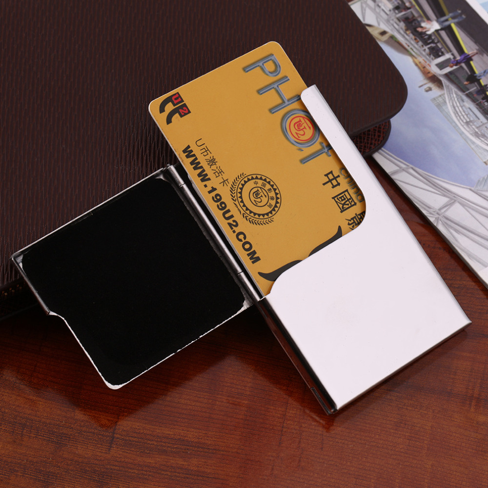 Edc stainless steel pocket business name credit id card for Mens business card case