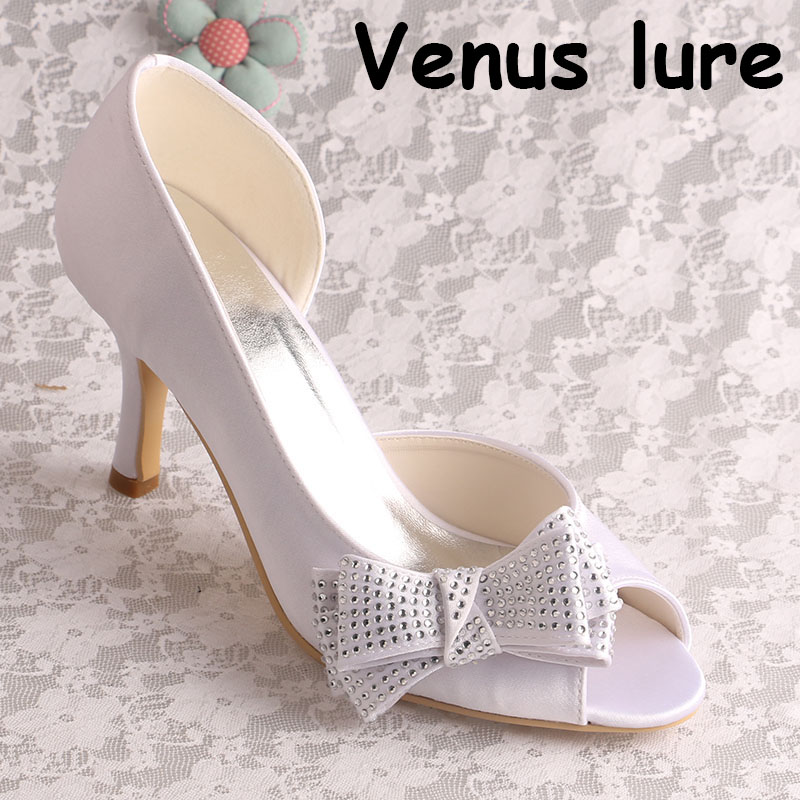 Bow Bridal Shoes Ivory High Heel Open Toe Pumps Custom Handmade Bow Bridal Shoes Ivory High Heel Open Toe Pumps Custom Handmade
