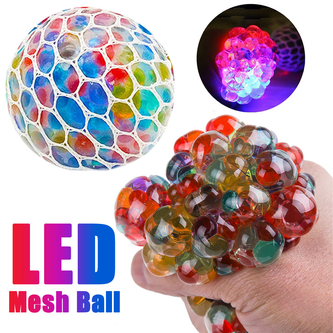 2018 New Arrive  Mesh Ball Stress LED Glowing Reduce Grape Toys Anxiety Relief  Stress Ball Kids Toy(China)