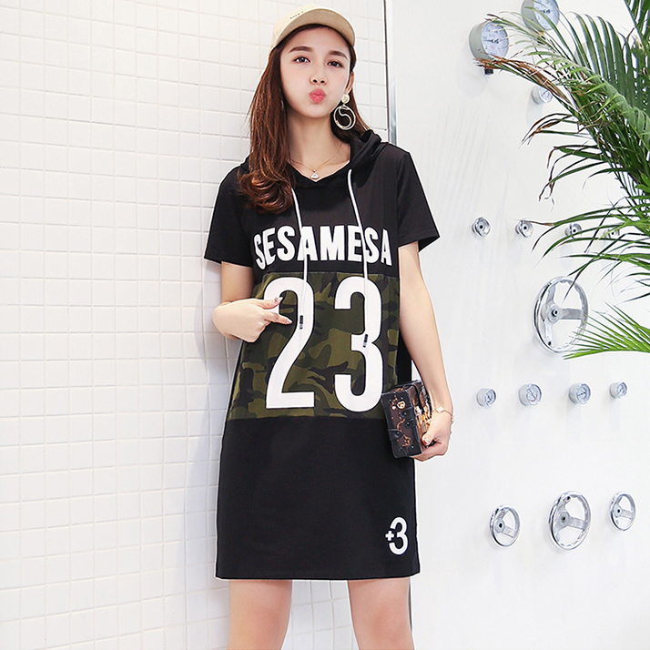 Women Summer Black Casual Dress Short Sleeve Camouflage Print Hoodies Dress