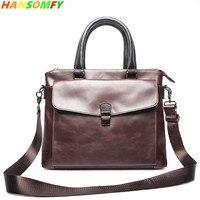 14 ноутбук 100% из натуральной кожи мужская деловая Сумочка поперечная Пряжка портфель сумка мессенджер дорожные сумки на плечо