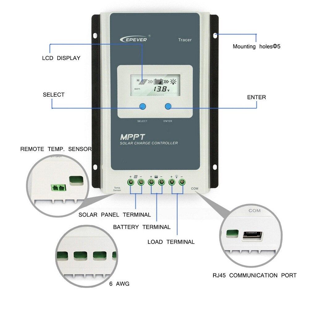 Солнечный заряд 30A/40A контроллер с ЖК дисплеем автоматическая защита от короткого замыкания и автоматическая защита от тока