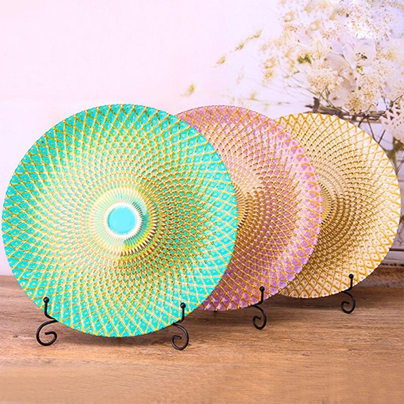 Placage coloré verre plat plaque vaisselle ananas Grain dîner plaque grand plateau alimentaire gravé plat élégant verre plat 1 pièces