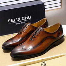 купить 2019 British Style Genuine Leather Men's Wingtip Oxford Shoes For Men Black Brown Dress Shoes Business Wedding Men Formal Shoes по цене 4060.28 рублей