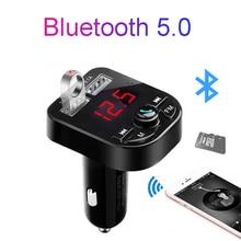цена на Bluetooth 5.0 receiver FM transmitter car mp3 music player Dual USB car charger U disk / TF card lossless music player