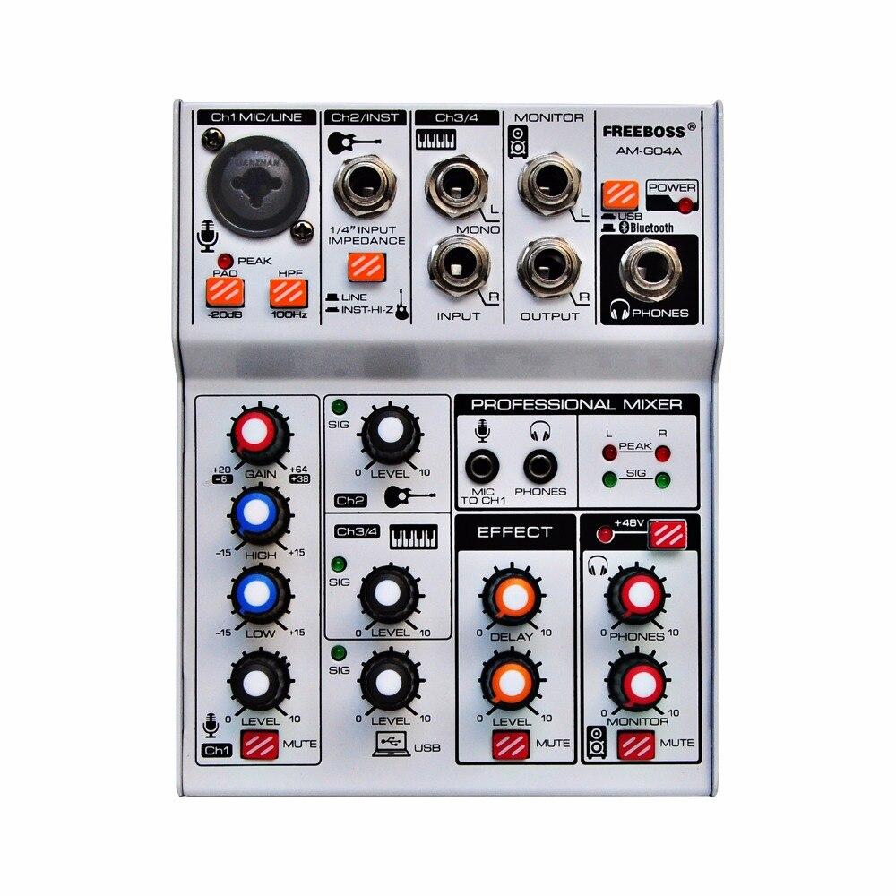 Freeboss AM-G04A Bluetooth Record Multi-purpose 4 Channels Input Mic Line Insert Stereo Professional USB Interface Audio Mixer