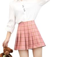 S~3XL high waist plaid skirts womens a line mini pleated short skirt 2017 Preppy Style kawaii skirts shorts summer jupe femme