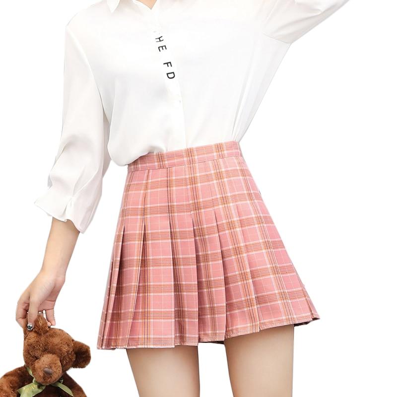 s 3xl high waist plaid skirts womens a line mini pleated