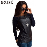 2016 Fashion T Shirt Autumn Winter Tops Women Black Long Sleeve Leather T Shirt Casual Loose